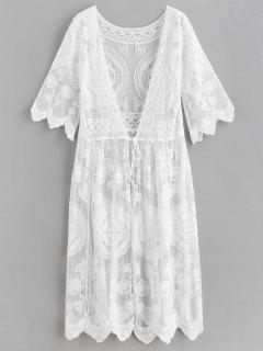 Crochet Tie Front Longline Cover Up - Blanco