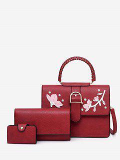 Applique Rivet 3 Pieces Tote Bag Set - Red
