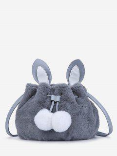 Rabbit Pattern Fuzzy Shoulder Bag - Gray