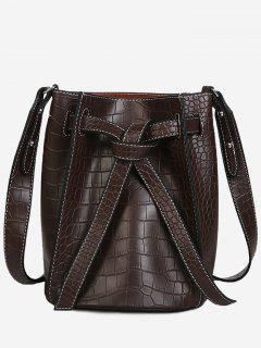 Knot Adjustable Strap Bucket Bag - Deep Brown