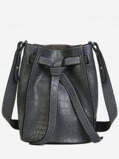 Knot Adjustable Strap Bucket Bag - Gray