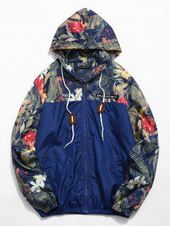 Floral Printed Patchwork Hooded Jacket - Midnight Blue Xl