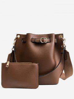 Solid 2 Piece Bucket Bag Set - Deep Brown