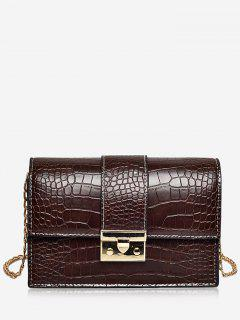Chain Embossing Design Crossbody Bag - Deep Brown