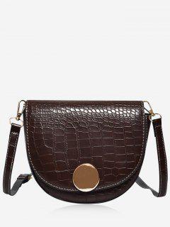 Solid Color Embossed Crossbody Bag - Deep Brown
