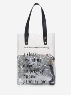 2Pcs Sequin Embellish Transparent PVC Shoulder Bag - Gray