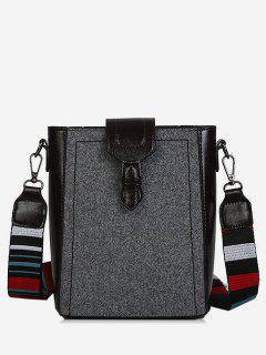 Buckled Stripe Wide Strap Shoulder Bag - Gray