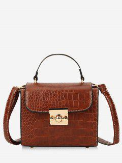 Hasp Rivet Shoulder Bag - Brown