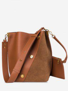 2Pcs Studs Patchwork Shoulder Bag - Brown