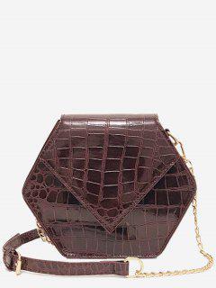 Hexagon Shaped Crossbody Bag - Brown