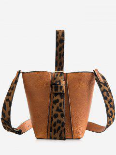 Leopard Pattern Belt Single Shoulder Bucket Bags Set - Light Brown