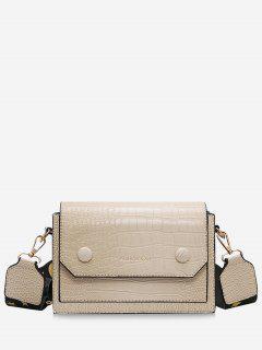 PU Square Strap Crossbody Bag - White
