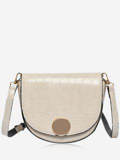 Solid Color Embossed Crossbody Bag - White