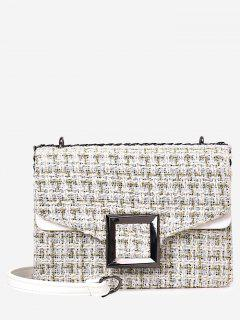 Square Buckle Houndstooth Shoulder Bag - White