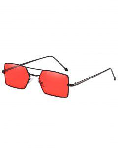 Unisex Rectangle Light Metal Frame Sunglasses - Red