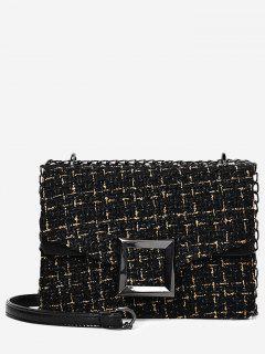 Square Buckle Houndstooth Shoulder Bag - Black