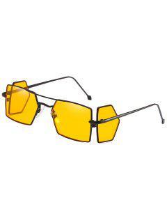 Four Lens Metal Light Frame Rectangle Sunglasses - Yellow