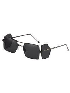 Four Lens Metal Light Frame Rectangle Sunglasses - Black