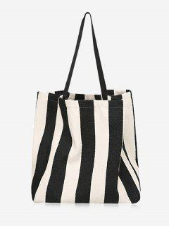 Simple Style Striped Tote Bag - Black