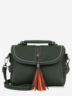 Tassel Leather Lichee Shading Handbag - Army Green