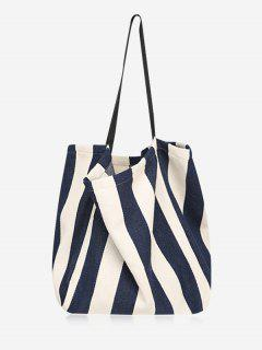 Simple Style Striped Tote Bag - Blue