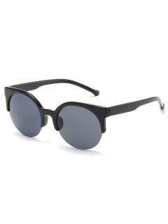 Unisex Vintage Oval Lens Semi-brim Sunglasses - Black