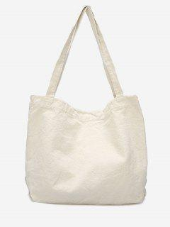 Solid Casual Open Tote Bag - White