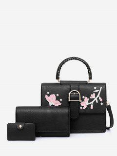 Applique Rivet 3 Pieces Tote Bag Set - Black
