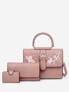 Applique Rivet 3 Pieces Tote Bag Set - Pink