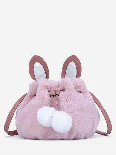 Rabbit Pattern Fuzzy Shoulder Bag - Pink