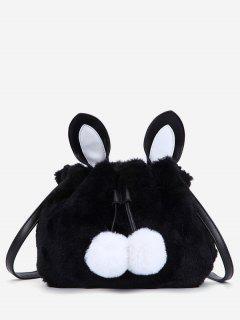 Rabbit Pattern Fuzzy Shoulder Bag - Black