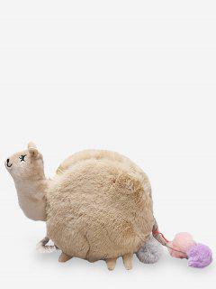 Fluffy Lamb Shaped Crossbody Bag - Tan