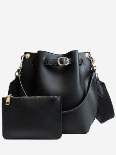 Solid 2 Piece Bucket Bag Set - Black