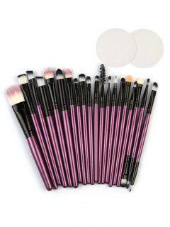 Eye Lip Makeup Brushes With Cotton Pads - Purple Iris