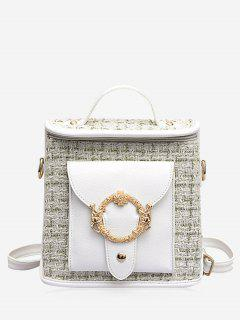 Multipurpose Checked Print Tote Bag - White