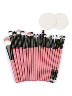 Eye Lip Makeup Brushes With Cotton Pads - Hot Pink