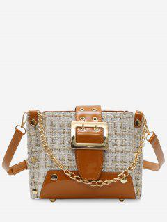 Woolen Grid Single Shoulder Chain Bag - Beige