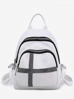Cross Decoration Hole For Earphone Backpack - White