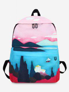 Oil Painting Print Casual Backpack - Blue Hosta