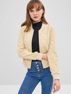 ZAFUL Zip Up Corduroy Pocket Jacket - Apricot M