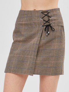 ZAFUL Lace-up Plaid Short Skirt - Dark Khaki Xl