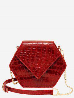 Hexagon Shaped Crossbody Bag - Red