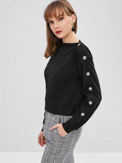 Sweat-shirt Contrasté Avec Boutons à Col Asymétrique - Noir S