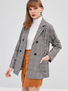 Manteau Blazer à Carreaux à Col Revers à Lacets - Gris L