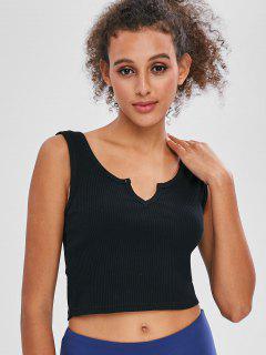 Camiseta Sin Mangas Con Canalé - Negro L