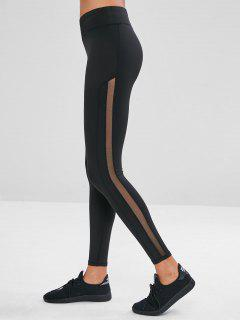Mesh Insert Skinny Yoga Leggings - Black L
