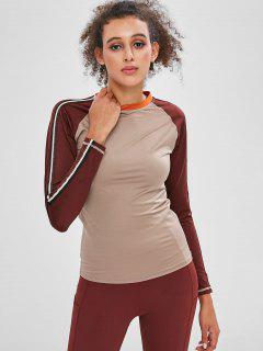 Striped Side Raglan Sleeve T-shirt - Multi-a M