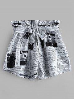 ZAFUL Newspaper Print Belted Loose Shorts - White Xl