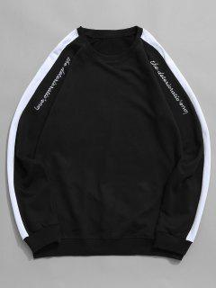 Contrast Raglan Sleeve Letter Embroidery Sweatshirt - Black L