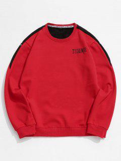 Contrast Letter Fleece Sweatshirt - Red S